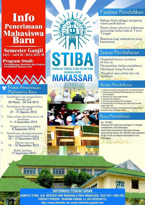 InfoPenerimaan Mahasiswa Baru 1433-1432 HSTIBA (Sekolah Tinggi Ilmu Islam $& BahasaArab)Makassar