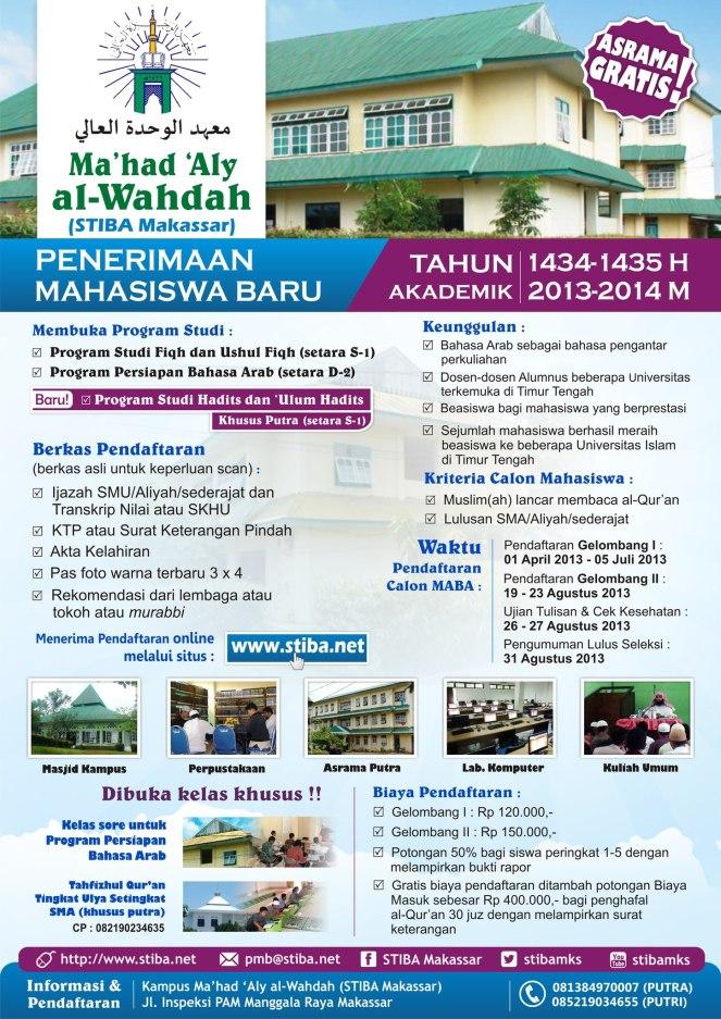 Penerimaan Mahasiswa Baru Ma'had 'Aly al Wahdah (STIBA) Makassar Tahun Akademik 1434-1435 H/2013-2014 M